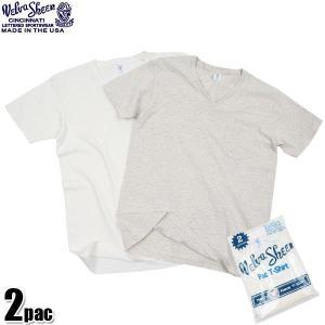 店内15%OFFクーポン出現中! Velva Sheen ベルバシーン 2PAC ポケット付き Vネック 半袖 Tシャツ 無地 WHITE + OATMEAL 2枚組 USA パックTシャツ ブランド waiper