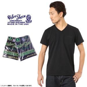 Velva Sheen ベルバシーン INDIGO Vネック パックTシャツ MADE IN USA アメリカ製 半袖 無地 ポケT インディゴ 1614006 ブランド|waiper