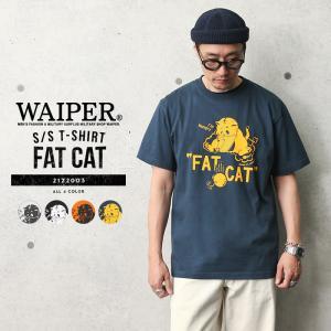 WAIPER.inc 2122003 S/S プリント Tシャツ FAT CAT(ハングリー) メンズ レディース ミリタリー ワイパー 猫 プリント ブランド 春 夏【Sx】|waiper