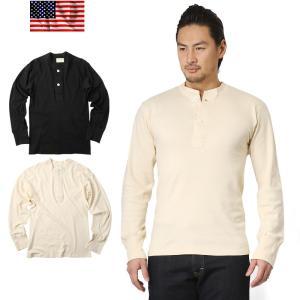 新品 復刻 米軍ヘンリーネックアンダーシャツ 2ボタン メンズ 長袖 Tシャツ ボタン付き ベッカム...