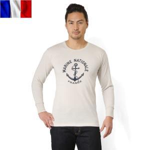 クーポン10%OFF! 実物 新品 イタリア軍 アンダーシャツ フランス海軍プリント ミリタリー 長袖 Tシャツ カットソー メンズ リメイク デッドストック 放出品|waiper