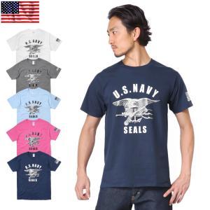 クーポン10%OFF! 【メーカー取次】新品 米軍 U.S.NAVY SEALS ロゴ プリント Tシャツ|waiper