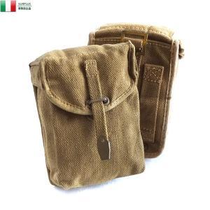 実物 イタリア軍 コットンキャンバス ベルトポーチ USED メンズ レディース ミリタリー 雑貨 ...