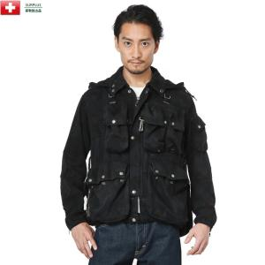 実物 スイス軍 M1960 マウンテンジャケット アルペンカモフラージュ BLACK染め メンズ ミ...
