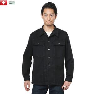 実物 スイス軍 前期型 デニムワークジャケット BLACK染め メンズ ミリタリー アウター ジャンバー ブルゾン 放出品 軍服 waiper