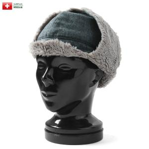 実物 USED スイス軍 ボアキャップ メンズ レディース フライトキャップ 帽子 軍放出品 軍用 防寒グッズ 小物 耳当て waiper