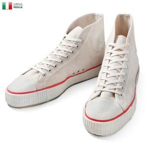 実物 新品 イタリア海軍 1970年代 キャンバススニーカー WARRIOR社製 ハイカット ミリタリー 靴 キャンバスシューズ 払い下げ品【クーポン対象外】|waiper