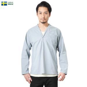 実物 新品 スウェーデン軍 パジャマシャツ LIGHT BLUE メンズ スリーピングシャツ ミリタリーシャツ プルオーバー 無地 軍服 軍用【クーポン対象外】|waiper
