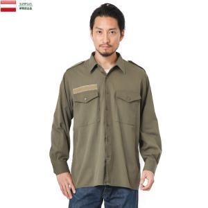 実物 USED オーストリア軍 フィールドシャツ メンズ 軍服 ミリタリーシャツ 長袖 ベルクロ付き 放出品|waiper
