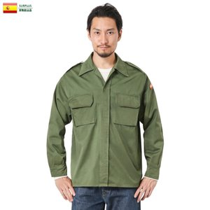 実物 USED スペイン軍 ARMY コンバット フィールドシャツ メンズ ミリタリーシャツ ゆったり 無地 軍服 エポレット付き 軍放出品 払い下げ品|waiper