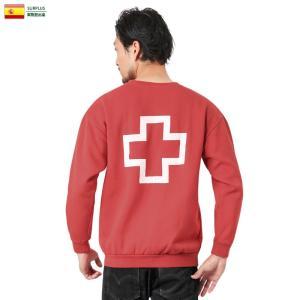 実物 USED スペイン赤十字 レッドクロス スウェットシャツ バックプリント メンズ レディース トレーナー 裏起毛 ゆったり おしゃれ|waiper