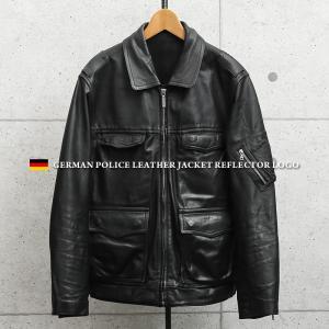 実物 USED ドイツ警察 ブラック レザージャケット リフレクターバックロゴ メンズ ミリタリージャケット 革ジャン 皮ジャン アウター【クーポン対象外】|waiper