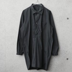 実物 新品 デッドストック スウェーデン軍 ヴィンテージ グランパシャツ BLACK染め メンズ スリーピングシャツ ロング丈 ミリタリーシャツ【クーポン対象外】|waiper