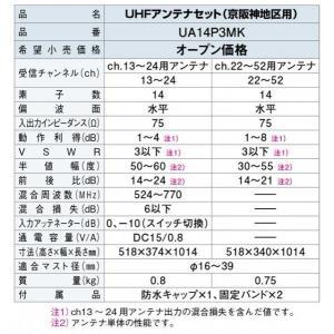 DXアンテナ 家庭用UHFアンテナ 京阪神地区用アンテナセット/混合器内臓 UA14P3MK|waiwai-d|03