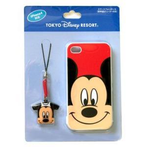 ディズニー ミッキー柄のスマートフォン i Phone 4対応 ケース・携帯電話クリーナー付き 東京ディズニーシー|waiwaicompany