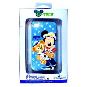 香港ディズニーリゾート iPhoneケース iPhone4,4s用 ミッキー&ダッフィー(青)|waiwaicompany