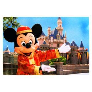 香港ディズニーランド 開園時 ミッキーとお城の柄の ポストカード