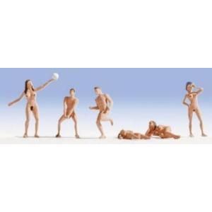 Nochノッホ15844 ヌーディストビーチで遊ぶ人たち【HO人形】【塗装済み】【ジオラマ小物】