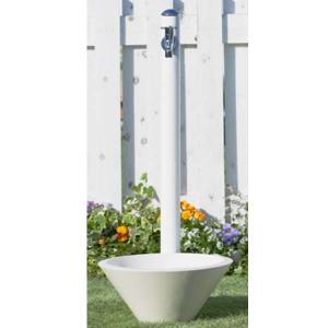 立水栓 コルム (水栓柱+ガーデンパン+蛇口) 1口水栓 おしゃれ 水栓柱セット|wakuiki
