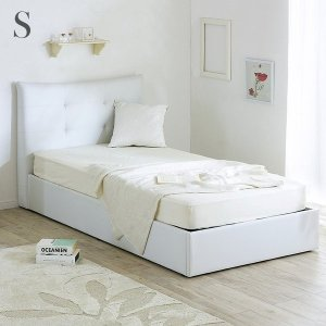 ベッドフレーム シングルサイズ シングルベッド PVC ホワイトベッド Blanc(ブラン) ハイバック仕様 大容量収納|wakuwaku-land