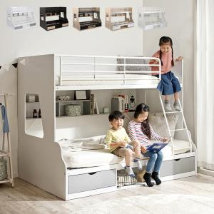 上下サイズ違い/引き出し収納/ラック収納 二段ベッド 2段ベッド 親子二段ベッド シングル セミダブル 親子ベッド Lagos(ラゴス) 4色対応|wakuwaku-land