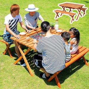 ガーデンテーブルセット 3点セット バーベキュー 木製 ガーデンテーブル ガーデンベンチ 杉材BBQテーブル&ベンチセット|wakuwaku-land