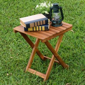 ガーデンファニチャー ガーデンテーブル サイドテーブル フォールディングテーブル 折りたたみテーブル 木製 VFS-GT33FJ|wakuwaku-land