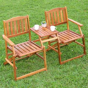 パラソル使用可能 ガーデンベンチ 屋外 木製 ガーデンチェア 木製ベンチ ベンチ チェア おしゃれ フォールディング ラブベンチ GO10FC 2人掛け|wakuwaku-land