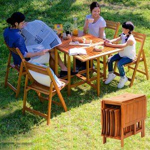 ガーデンファニチャー ガーデンテーブル ガーデンチェア 木製テーブル 木製チェア 折りたたみテーブル 折りたたみチェア 5点セット VFS-GT10FJ|wakuwaku-land