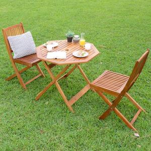 ガーデンテーブル ガーデンチェア 木製テーブル 木製チェア 折りたたみテーブル 折りたたみチェア 八角テーブル 幅90cm & 肘掛無しチェア 3点セット|wakuwaku-land