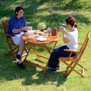 ガーデンテーブル ガーデンチェア 木製テーブル 木製チェア 折りたたみテーブル 折りたたみチェア 八角テーブル 幅90cm & 肘掛有りチェア 3点セット|wakuwaku-land