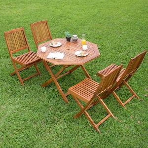ガーデンテーブル ガーデンチェア 木製テーブル 木製チェア 折りたたみテーブル 折りたたみチェア 八角テーブル 幅110cm & 肘掛無しチェア 5点セット|wakuwaku-land