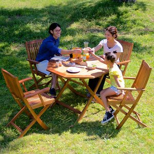 ガーデンテーブル ガーデンチェア 木製テーブル 木製チェア 折りたたみテーブル 折りたたみチェア 八角テーブル 幅110cm & 肘掛有りチェア 5点セット wakuwaku-land
