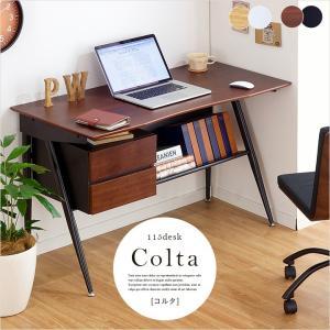 パソコンデスク オフィスデスク リビングデスク 書斎机 115cm幅 デスク Colta(コルタ) 2色対応|wakuwaku-land