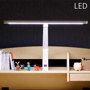 クリアランス T型 LED デスクライト 卓上ライト 卓上照明 デスク ライト ホワイト 照明 無段階調光機能/コンセント付/クランプタイプ|wakuwaku-land