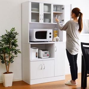ワイド食器棚 ホワイト鏡面仕上げ NewMilano ニューミラノ 180cm×90cmサイズ|wakuwaku-land
