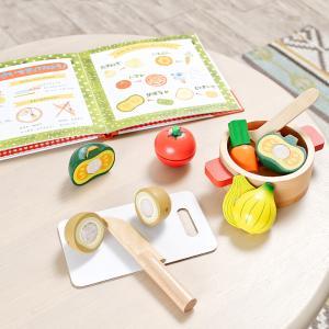 ごっこ遊び 木製おもちゃ 絵本 本 えほん 絵本付き たべものセット 食育 調理器具セット お店 えほんトイっしょ チーズくんのおいしいスープ ラッピング無料|wakuwaku-land