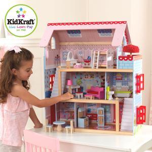 正規品 おもちゃ ドールハウス お人形遊び 家具付きハウス セット コンパクト KidKraft チェルシードールコテージ 16点セット|wakuwaku-land