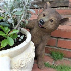 商品詳細商品説明くまの置物 かくれんぼクマさんでございます。鉢花から覗いた姿が可愛い置物でございます...