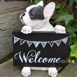 商品詳細商品説明犬の置物 フレンチブルドッグのウエルカムボードドッグです。ウエルカムボードを持った可...