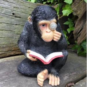 サルの置物 さるの読書 3878-00 猿 オーナメント オーナメント オブジェ ガーデン ガーデニ...