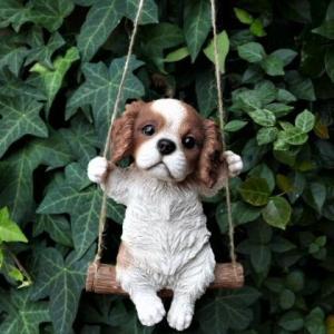 犬の置物 エンジョイブランコ キャバリア 134QY いぬ イヌ 動物  オーナメント ガーデン オ...