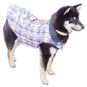 犬のレインコート アドベンチャージャケット パープルチェック 16|walajin-dog