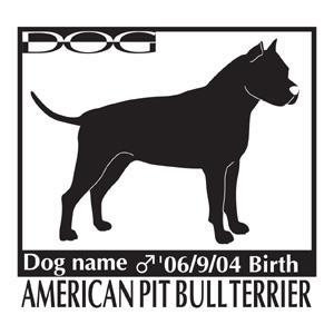 犬 ステッカーA アメリカンピットブルテリア 横向きMサイズ|walajin-dog