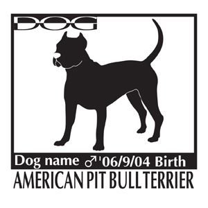 ドッグシールA アメリカンピットブルテリア 斜めLサイズ|walajin-dog