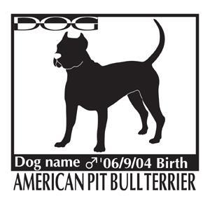 犬 ステッカーA アメリカンピットブルテリア 斜めMサイズ|walajin-dog