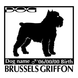 犬 ステッカーA ブリュッセルグリフォン Lサイズ walajin-dog