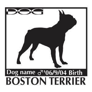 犬 ステッカーA ボストンテリア 横向きMサイズ walajin-dog