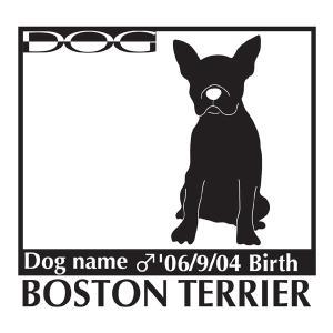 犬 ステッカーA ボストンテリア お座りLサイズ walajin-dog