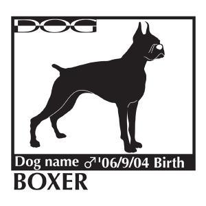 犬 ステッカーA ボクサー Mサイズ|walajin-dog